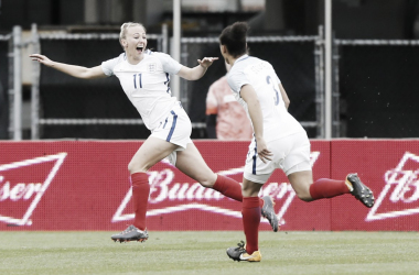 England's Toni Duggan, left, celebrates her goal against France during the first half of a SheBelieves Cup women's soccer match Thursday, March 1, 2018, in Columbus, Ohio | Photo: Jay LaPrete/AP Photo