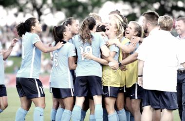 Sky Blue FC looks to do more celebrating this season. (Photo: Jose L. Argueta/ ISI Photos)
