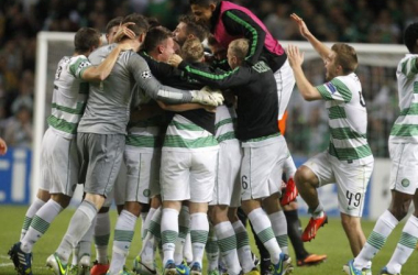 Celtic Players Celebrations At Full Time.