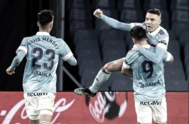 Iago Aspas celebra un gol junto a Nolito y Brais Méndez// FOTO: Rccelta.es