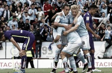 Los jugadores del Celta celebrando la victoria frente al Málaga en Balaídos. Foto: LFP