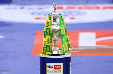 A general view of the Sky Bet Championship trophy following the Sky Bet Championship match between Barnsley and Norwich City at Oakwell Stadium on May 08, 2021 in Barnsley, England. Sporting stadiums around the UK remain under strict restrictions due to the Coronavirus Pandemic as Government social distancing laws prohibit fans inside venues resulting in games being played behind closed doors. (Photo by George Wood/Getty Images)