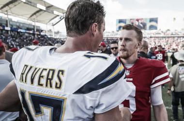 Saludo entre Rivers y Beathard // Foto: NFL