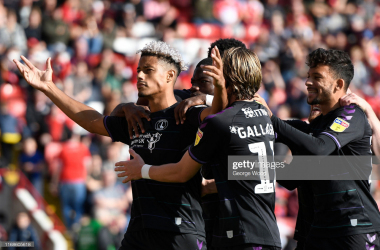 Lyle Taylor of Charlton Athletic celebrates scoring his teams second goal of the match during the Sky Bet Championship match between Barnsley and Charlton Athletic at Oakwell Stadium on August 17, 2019 in Barnsley, England. (Photo by George Wood/Getty Images)