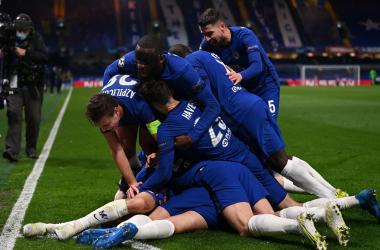 L'esultanza dei giocatori del Chelsea dopo il gol del 2-0. | Foto: Twitter @ChampionsLeague.