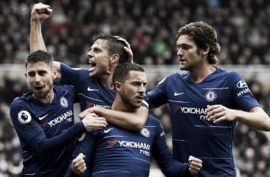 Chelsea em comemoração do gol contra o Newcastle (Fonte:Divulgação Premier League)