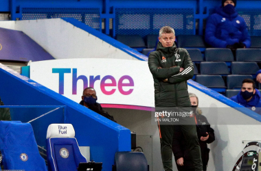 <div>FBL-ENG-PR-CHELSEA-MAN UTD</div><div>Manchester United's Norwegian manager Ole Gunnar Solskjaer looks on during the English Premier League football match between Chelsea and Manchester United at Stamford Bridge in London on February 28, 2021. (Photo by Ian Walton / POOL / AFP) / RESTRICTED TO EDITORIAL USE. No use with unauthorized audio, video, data, fixture lists, club/league logos or 'live' services. Online in-match use limited to 120 images. An additional 40 images may be used in extra time. No video emulation. Social media in-match use limited to 120 images. An additional 40 images may be used in extra time. No use in betting publications, games or single club/league/player publications. / (Photo by IAN WALTON/POOL/AFP via Getty Images)</div>