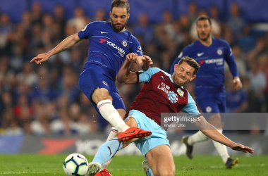 James Tarkowski and Gonzalo Higuain fight for possession in the sides last meeting (Photo: Getty Images: Warren Little)<br>
