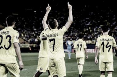 Cheryshev celebrando el gol frente al Astana   Foto: web oficial del Villarreal CF