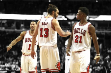 The Bulls return their main core from last season's team with Rose, Butler, Noah, and Gasol (not pictured).