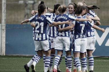 Las chicas celebrando un gol / Foto: Real Sociedad