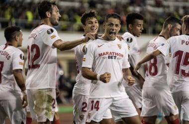 Chicharito celebra su gol ante el Qarabag |Foto: Sevilla F.C.|