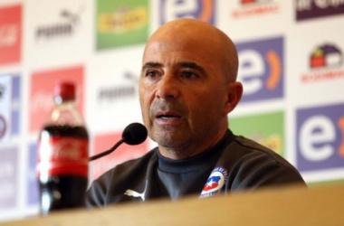 Jorge Sampaoli en rueda de prensa. Fuente: Asociación Nacional de Fútbol Profesional - Chile (ANFP)
