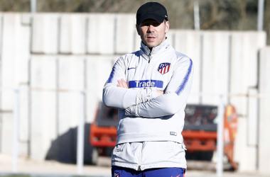 Simeone en un entrenamiento /Foto: Atlético de Madrid