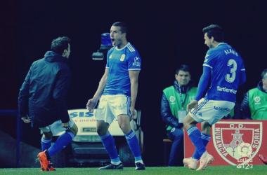 Christian, Alanís y Toché celebran el tercer gol de Soria. Imagen: Laliga123