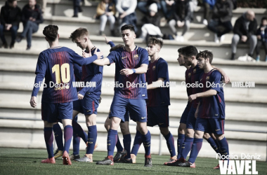 Chumi celebrando un gol con sus compañeros | Foto: Noelia Déniz, VAVEL