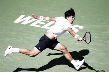 Chung durante el torneo de Indian Wells el año pasado. Foto: BNP Paribas Open.