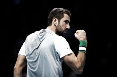 Marin Cilic celebra un punto durante un partido en las Nitto ATP FInals de Londres. Foto: zimbio.com