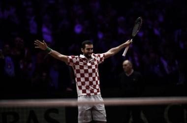 Marin Cilic celebra el punto con el que gana el partido ante Lucas Pouille. Foto: gettyimages.es