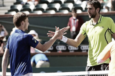Cilic and Goffin shake hands following their quarterfinal encounter at the BNP Paribas Open in March (Source : SportsKeeda)