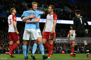 <div>Manchester City's Belgian midfielder Kevin De Bruyne (3rd L) celebrates with Manchester City's English midfielder Raheem Sterling after scoring their second goal during the English Premier League football match between Manchester City and West Bromwich Albion at the Etihad Stadium in Manchester, north west England, on January 31, 2018. &nbsp;LINDSEY PARNABY/AFP via Getty Images</div><div><br></div>
