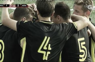 El Deportivo Aragón celebra su segundo gol ante el CD Choco (Foto: @TVGalicia).