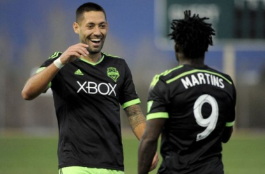 If the Seattle Sounders FC want to be playing in the Western Conference Finals, they will need Clint Dempsey (Left) and Obafemi Martins (Right) to guide them their. Photo provided by Casey Sapio- USA TODAY Spots.