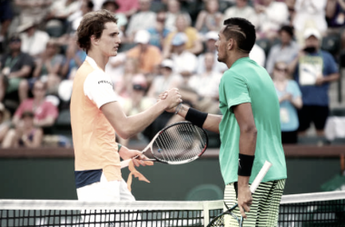 Alexander Zverev and Nick Kyrgios after the two met in Indian Wells. Kyrgios won 6-3, 6-4