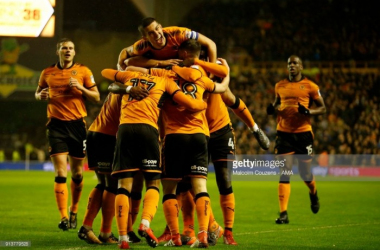 Wolves players celebrate after scoring in last week's win over Sheffield United | Photo: Malcom Couzens - AMA