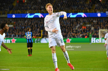 Cole Palmer midfielder of Manchester City celebrates scoring a goal during the UEFA Champions League Group stage - Group A match between Club Brugge and Manchester City FC at the Jan Breydel stadium on October 19, 2021 in Brugge, Belgium , 19/10/2021 ( Photo by Vincent Kalut / Photo News via Getty Images)