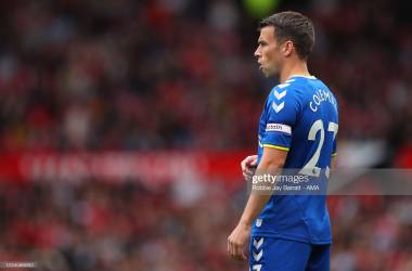 Seamus Coleman of Everton uring the Pre Season Friendly fixture between Manchester United and Everton at Old Trafford on August 7, 2021 in Manchester, England. (Photo by Robbie Jay Barratt - AMA/Getty Images)