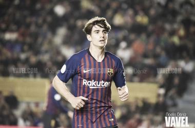 Collado, jugador del Barça B, ante el Girona en la Supercopa de Catalunya   Foto: Noelia Déniz (VAVEL)