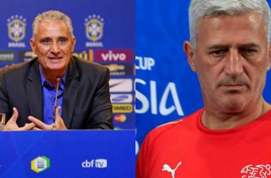 Il ct del Brasile Tite (57) e il ct della Svizzera Petkovic (54)