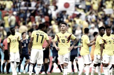 La decepción de los jugadores colombianos tras su gris debut. Foto: es.fifa.com