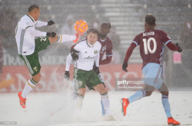 Portland's David Guzman challenges for the ball. (Getty Images - Timothy Nwachukwu)