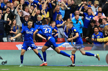 Cardiff's Rubin Colwill celebrates with teammates after scoring his side's second goal away at Nottingham Forest /Photo by David Rogers/Getty Images
