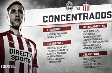 Lista de los concentrados. Foto: Twitter oficial de Estudiantes de la Plata.
