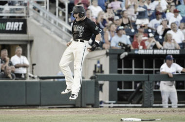 Connor Owings celebrates the winning run against Florida Gators | Photo Courtesy: AP