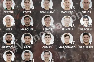 Lista de convocados ante Tigre. Foto: Patronato oficial