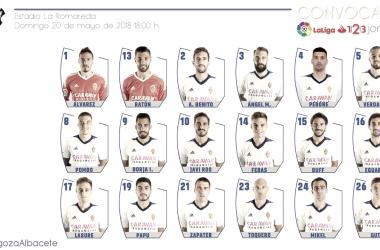 Lista de 18 convocados frente al Albacete / Foto: Real Zaragoza
