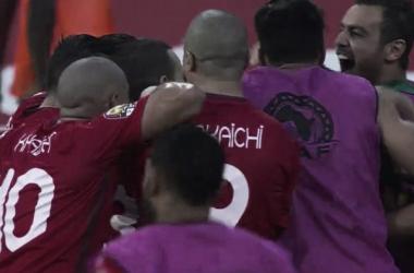 Delirio tunisino dopo l'1-0. Twitter @tunisiefootball
