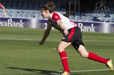 Lucía Córdoba celebra su gol ante el FC Barcelona. | FOTO: Athletic Club