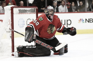 Without Corey Crawford, the Chicago Blackhawks will have a challenge to make the playoffs. (Photo: Chicago Tribune)