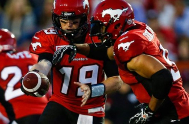 Bo Levi Mitchell (19) led Calgary to a win on Monday night  - Canadian Press/Jeff McIntosh