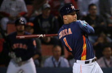 Carlos Correa hits a home run for the Houston Astros against the San Diego Padres in Mexico City, Mexico. (AP)