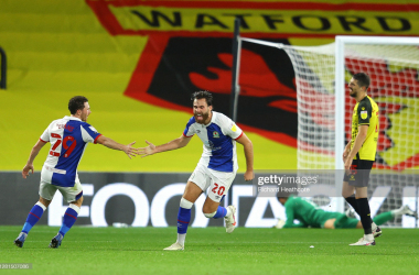 WATFORD, ENGLAND - OCTOBER 21: Ben Brereton of Blackburn Rovers celebrates with teammate Corry Evans after scoring his sides first goal during the Sky Bet Championship match between Watford and Blackburn Rovers at Vicarage Road on October 21, 2020 in Watford, England. (Photo by Richard Heathcote/Getty Images)