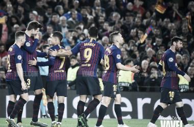 Los jugadores del Barça celebrando un gol. FOTO: Noelia Déniz