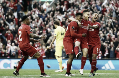 Liverpool players celebrate the opening goal of the evening (photo: BPI)