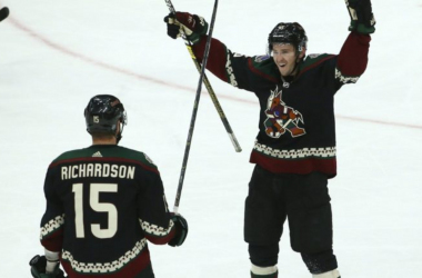 Arizona Coyotes celebrate a goal against the Colorado Avalanche. | (AP Photo/Ross D. Franklin)