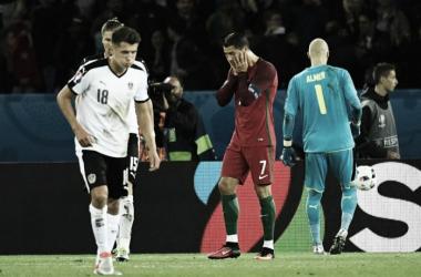Ronaldo dopo il rigore sbagliato contro l'Austria. Fonte: Uefa.com